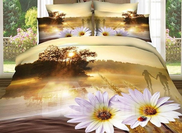 Sunset River and Flower Print 4-Piece 100% Cotton Duvet Cover Sets