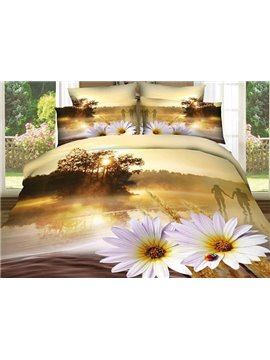 Sunset River and Flower Print 4-Piece 100% Cotton Duvet Cover Sets