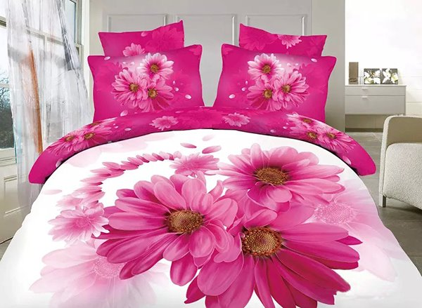 Pretty Pink Daisy Print 4-Piece 100% Cotton Duvet Cover Sets