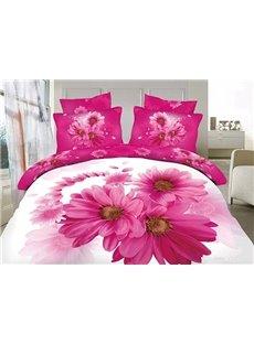 Pretty Pink Daisy Print 4-Piece 100% Cotton Duvet Cover Sets