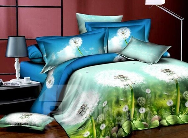Fancy Dandelion Print 4-Piece Polyester Duvet Cover Sets