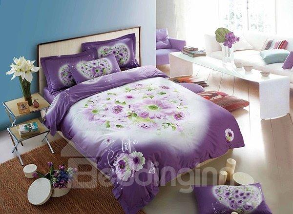 Purple Flower Lovers 4-Piece 100% Cotton Duvet Cover Sets