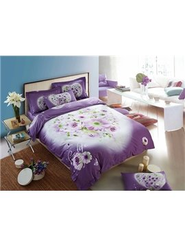 Purple Flower Lovers 4-Piece 100% Cotton Duvet Cover Sets