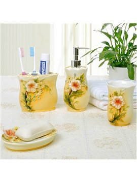 Graceful Rural Resin Flower 4-piece Bath Aceessories