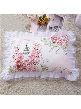 White Border a Pair of Pink Rose Surround Cinderella Pattern Cotton Pillow Case