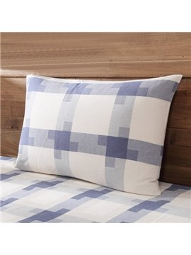 Country Style Sky Blue Squares Skincare and Comfortable Pillow Case