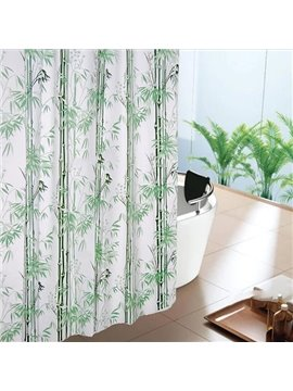 Graceful Fresh Green Bamboo Durable Shower Curtain
