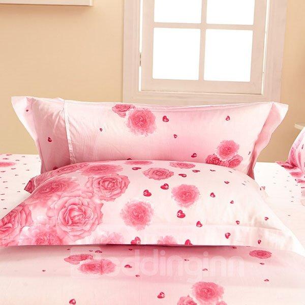 Attractive Wonderful Pink Rose Painting Thick 2-Piece Pillow Cases