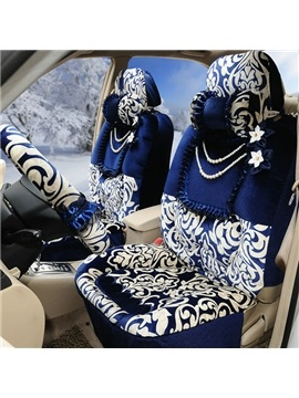 Lush Decor Blue and White Style Flowers Pattern Ultra Comfortable Plush Car Seat Cover