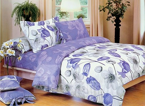Fragrant Blue and White Flower Print 4-Piece Cotton Duvet Cover Sets