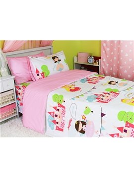 Princess Castle Print 3-Piece Cotton Duvet Cover Sets