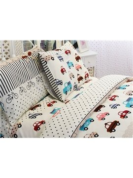 Kart Racing Print 3-Piece Cotton Duvet Cover Sets