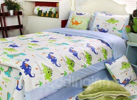 Dragon Garden Print 3-Piece Cotton Kids Duvet Cover Sets