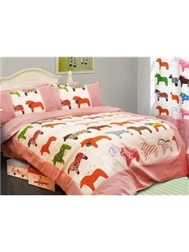 Super Cute Horse Print 3-Piece Cotton Kids Duvet Cover Sets