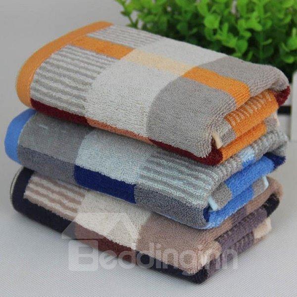 Fashion Plush Plaid Style 100% Cotton Towel