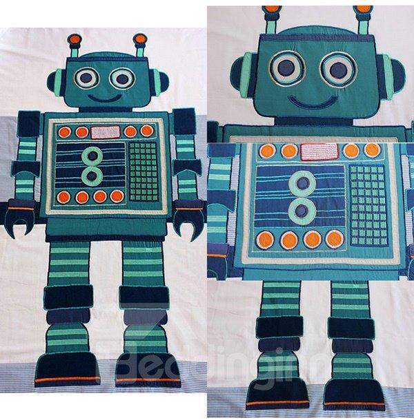 Robot Embroidered 4-Piece 100% Cotton Duvet Cover Sets