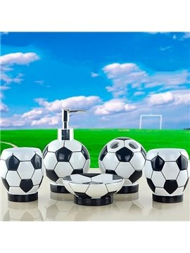 Creative Fashion Football 5-piece Resin Bath Accessories