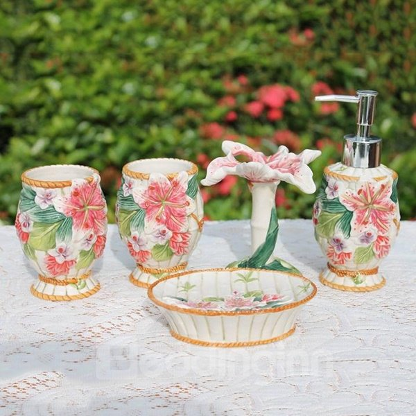 Graceful Magnificent Blooming Lily 5-piece Ceramic Bath Accessories