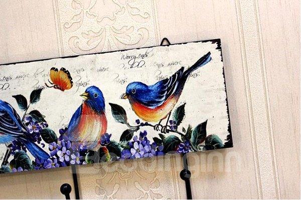 Retro European Rural Birds Print Wood Hooks