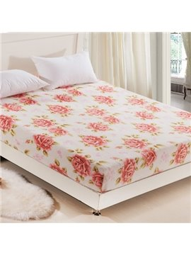 Full of Blooming Peony Pattern Ultra Warm and Comfortable Coral Fitted Sheet