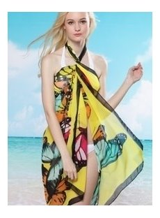 Beautiful Butterfly Print Beach Sarong Cover Up