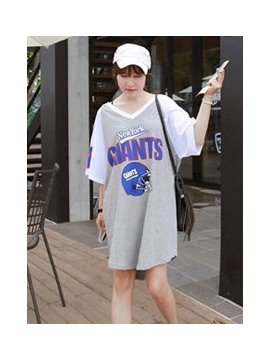Stylish Comfy Loose Fit  Contra Gray And White Color Sleepshirt