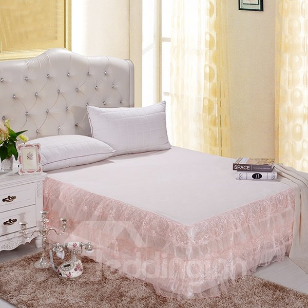 Cinderella Style Fashion Solid Light Pink Color Lace Border Ultra Comfortable Bed Skirt