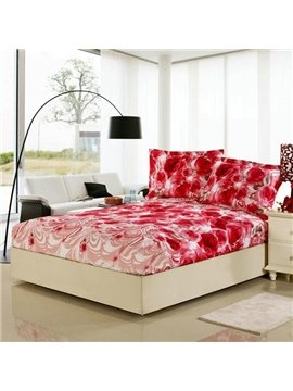 Blood Red Rose Pattern Amazing Beautiful Cotton Fitted Sheet