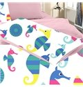 Colorful Stripe Sea Horse Print 3-Piece Skincare Duvet Cover Sets
