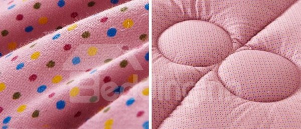 Attractive Colorful Dots Pattern Beige Border Ultra Comfortable Quilt