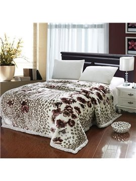 Cow Dots Painting Stripes of Floral Pattern Thick Style Comfortable Blanket