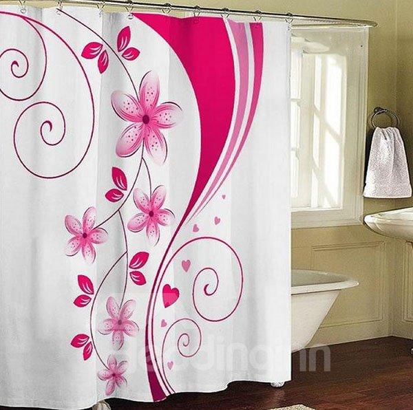 Gorgeous Romantic Pink Flower Pattern Shower Curtain