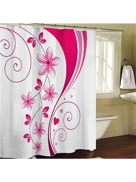 Gorgeous Romantic Pink Flower Pattern Shower Curtain