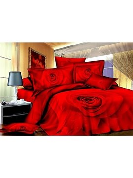 Forever Love Red Rose Print 4-Piece Cotton Duvet Cover Sets