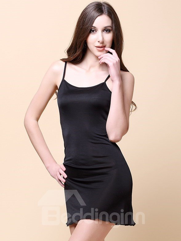 Comfy Adjustable Straps Knit Mulberry Silk Chemise