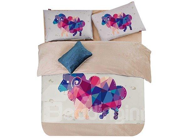 Colorful Goat Print 3-Piece Coral Fleece Duvet Cover Sets