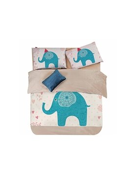 Naughty Elephant Print 4-Piece Coral Fleece Duvet Cover Sets
