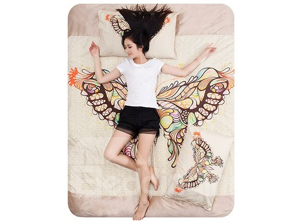 Fairy Butterfly Print 4-Piece Coral Fleece Duvet Cover Sets