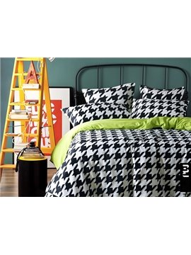 Black and White Houndstooth Print 4-Piece 100% Cotton Duvet Cover Sets