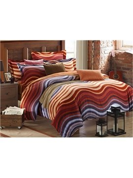 Colorful Waves Pattern 4-Piece Carla Velvet Duvet Cover Sets