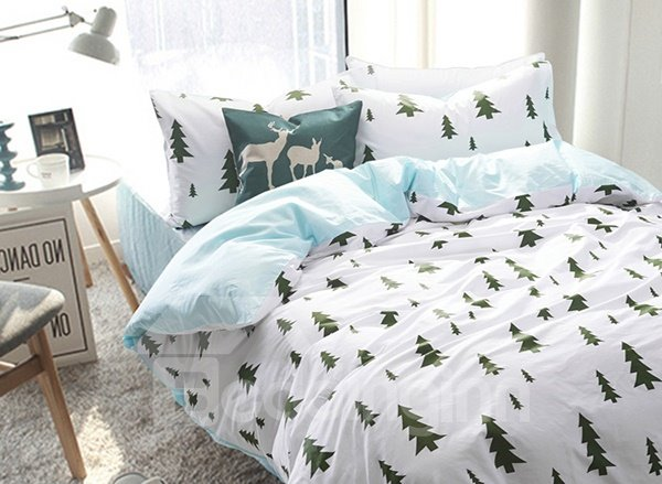 Minimalist fir pattern 4 piece 100 cotton duvet cover for Minimalist comforter
