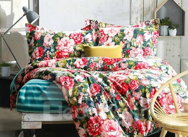 Secret Garden Beautiful Flowers Print 4-Piece Duvet Cover Sets