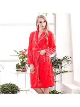 Fashion Super Soft Warm Coral Fleece Female Bathrobe
