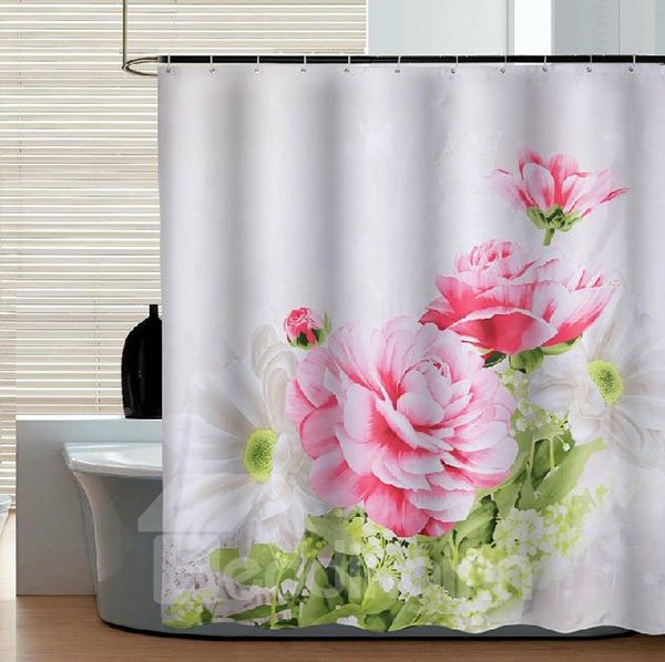 Magnificent Blooming Peony Pattern Dacron Shower Curtain