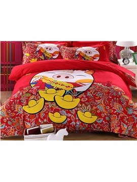 Lucky Pig Print 4-Piece 100% Cotton Duvet Cover Sets
