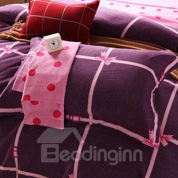 Bowknot Print 4-Piece 100% Cotton Princess Duvet Cover Sets