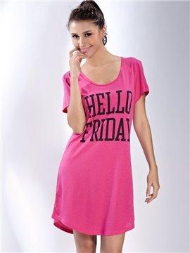Comfortable Pink Cotton Round Neck Sleepshirt
