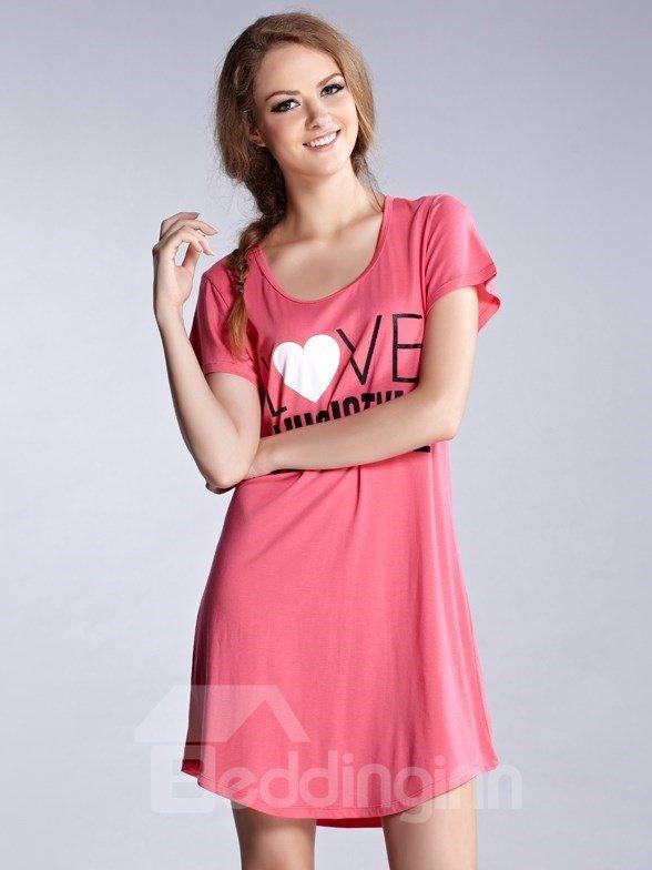 Comfortable Cotton Heart Shape Round Neck Sleepshirt