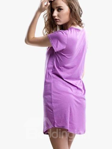 Comfy Cotton Attractive Purple Uneven Hem Sleepshirt