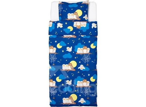 Night Owl Print 2-Piece Soft Cotton Duvet Cover Sets